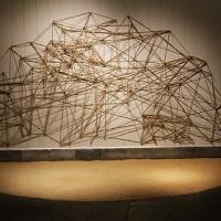 """""""混乱与秩序""""(Chaos and Order),材料:亚麻绳,铁钉,糙米。瑞典艺术家与中国艺术家合作"""