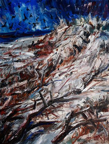 和丽斌作品《荒原·尽头》布面油画 180×240cm 2013年