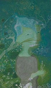 刘丽芬Liu Lifen 耳朵上插根草的男孩 Boy with Grass on Ear 纸本绘画 Chinese Clour on Paper 67x113cm 2008