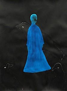 刘丽芬Liu Lifen 像乌鸦致敬 Salute to Crow 纸本彩墨 Ink on paper 57x76cm 2013