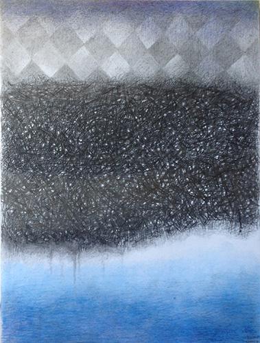 苏亚碧,纸本彩铅、丙烯、炭笔,尺寸:75×101cm,根据荷兰诗人:戴尔波克(荷兰),诗歌:《她拎着一杯水上楼____给w》(多重编译 中国荷兰诗歌与艺术交流项目)